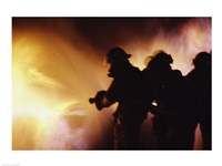 Firefighters extinguishing a fire - various sizes