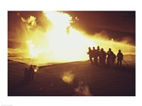 High angle view of firefighters extinguishing a fire - various sizes - $29.99