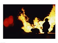 Firefighters In front Of Flames Extinguishing A Fire - various sizes