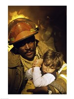 Firefighter carrying a boy - various sizes