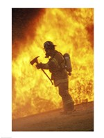 Side profile - firefighter holding an axe - various sizes