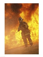 Firefighter holding an axe - various sizes
