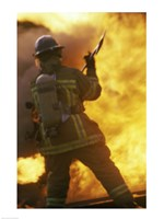 Rear view of a firefighter holding an axe - various sizes