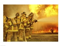 Rear view of a group of firefighters extinguishing a fire - various sizes