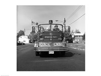 Fire engine on road Fine Art Print