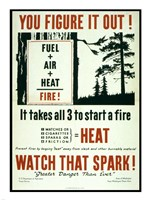 You Figure it out, Fuel + Air + Heat = Fire - various sizes
