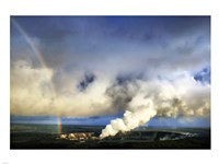 Rainbow and Eruption of Halema`uma`u Vent at Kilauea - various sizes