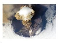 Sarychev Peak Volcano from Nasa Satelite Photo Fine Art Print