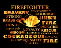 Firefighter Words Framed Print