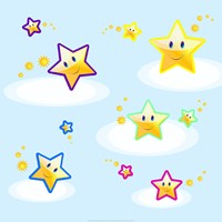 Star Smiles on Clouds - various sizes