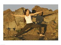 Young woman practicing yoga, Haleakala, Haleakala National Park, Maui, Hawaii, USA Fine Art Print