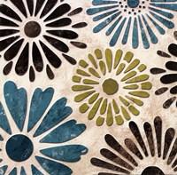 """Stencil Flowers II - mini by N. Harbick - 12"""" x 12"""""""