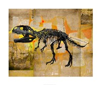 T Rex Skeleton Collage Framed Print