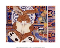 "Bunny Reading - 14"" x 11"", FulcrumGallery.com brand"