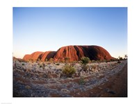 Rock formation on a landscape, Ayers Rock, Uluru-Kata Tjuta Park Fine Art Print