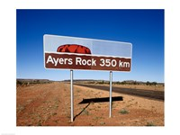 Distance sign on the road side, Ayers Rock, Uluru-Kata Tjuta National Park, Australia Fine Art Print