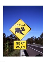 Close-up of a crossing sign on the road side, Australia Fine Art Print