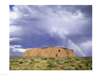 Rock formation on a landscape, Ayers Rock, Uluru-Kata Tjuta National Park Fine Art Print