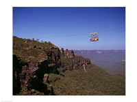 Cable car approaching a cliff, Blue Mountains, Katoomba, New South Wales, Australia - various sizes