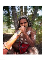 Pamagirri aborigine playing a didgeridoo, Australia Fine Art Print
