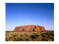 Rock formation on a landscape, Uluru-Kata Tjuta National Park, Australia Fine Art Print