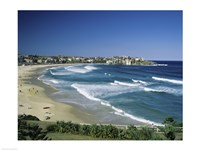 High angle view of a beach, Bondi Beach, Sydney, New South Wales, Australia Fine Art Print