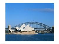 Opera house on the waterfront, Sydney Opera House, Sydney Harbor Bridge, Sydney, Australia Fine Art Print