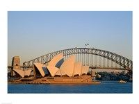 Sydney Opera House in front of the Sydney Harbor Bridge, Sydney, Australia Fine Art Print