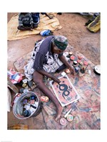 Female artist painting, Alice Springs, Northern Territory, Australia Fine Art Print