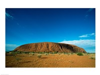 Rock formation on a landscape, Ayers Rock, Uluru-Kata Tjuta National Park, Northern Territory, Australia Fine Art Print