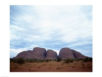 Rock formations on a landscape, Olgas, Uluru-Kata Tjuta National Park, Northern Territory, Australia Fine Art Print