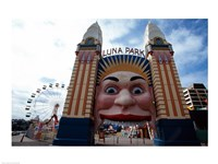 Low angle view of the entrance to an amusement park, Luna Park, Sydney, New South Wales, Australia - various sizes