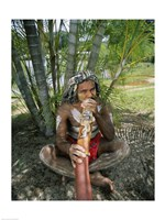 Aborigine playing a didgeridoo, Cairns, Queensland, Australia Fine Art Print