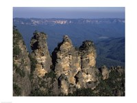 High angle view of rock formations, Three Sisters, Blue Mountains, New South Wales, Australia Fine Art Print