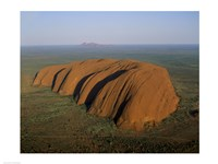 Aerial view of a rock formation. Ayers Rock, Uluru-Kata Tjuta National Park, Australia Fine Art Print
