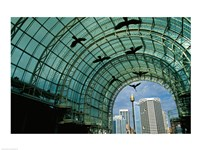 Low angle view of sculptures of birds in a shopping mall - various sizes