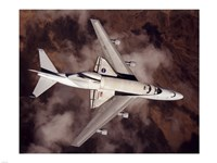 B747 with Space Shuttle on it from Above Fine Art Print