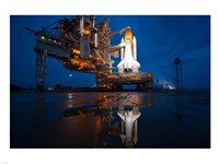 Brightly Lit Atlantis STS-135 on Launch Pad Fine Art Print