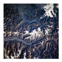 Swiss alps from space taken by Atlantis Fine Art Print
