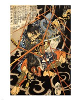 Li Hayata Hironao grappling with the monstruos nue Fine Art Print