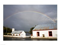 Rainbow over a cottage, Cloonee Lakes, County Kerry, Munster Province, Ireland Fine Art Print