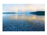 Reflection of a rainbow in a lake, Lake Khovsgol, Sayan Mountains, Russian-Mongolian border Fine Art Print