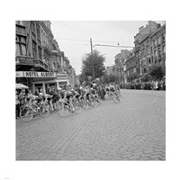 Cyclists in action tour de france 1960 Fine Art Print