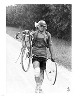 Italian Giusto Cerutti has a broken wheel after a fall. Tour de France 1928 - various sizes