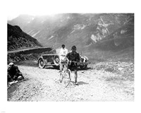 The Belgian Maurice Geldhof is climbing part of the Aubisque on foot. Tour de France 1928 Fine Art Print