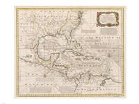 1720 Map of the West Indies with the Adjacent Coasts of North and South America, 1720 - various sizes, FulcrumGallery.com brand