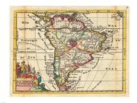 1747 La Feuille Map of South America, 1747 - various sizes, FulcrumGallery.com brand