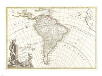 1762 Janvier Map of South America, 1762 - various sizes
