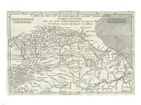 1780 Bonne Map of Northern South America, Columbia, Venezuela, Brazil Fine Art Print