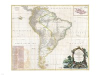 1780 Raynal & Bonne Map of Southern Brazil, Northern Argentina, Uruguay & Paraguay, 1780 - various sizes, FulcrumGallery.com brand